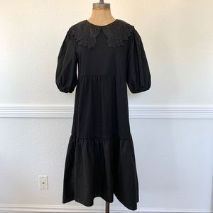 Pre-owned Zara Embroidered Collar Dress Black